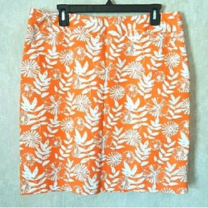 Rafaella pencil skirt orange white plus size 15